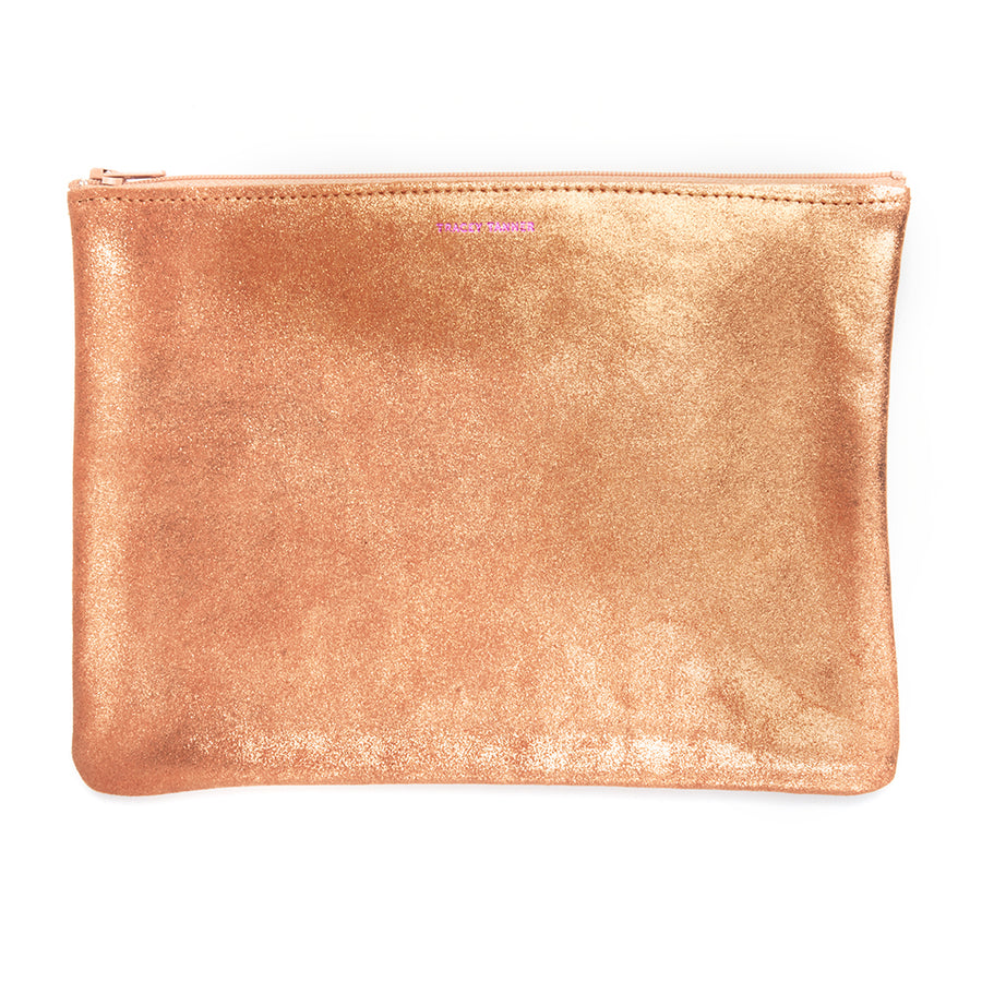 Large Flat Zip Pouch - Rose Gold Sparkle