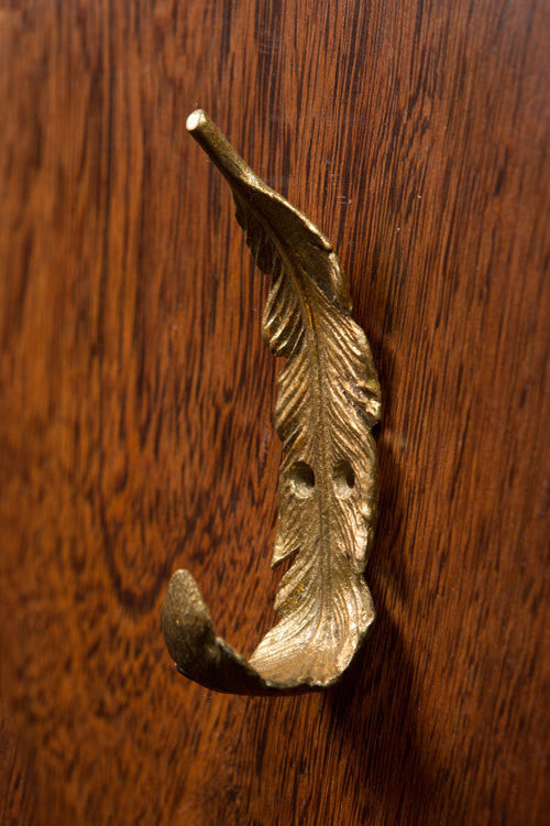 Large Golden Feather Pewter Wall Hook