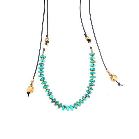 Mojave Turquoise & Leather Necklace