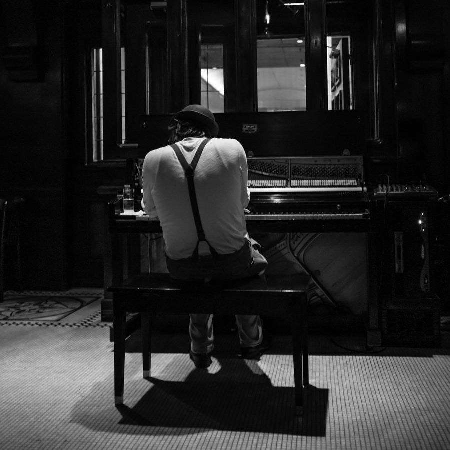 Piano Man 12x12 B&W
