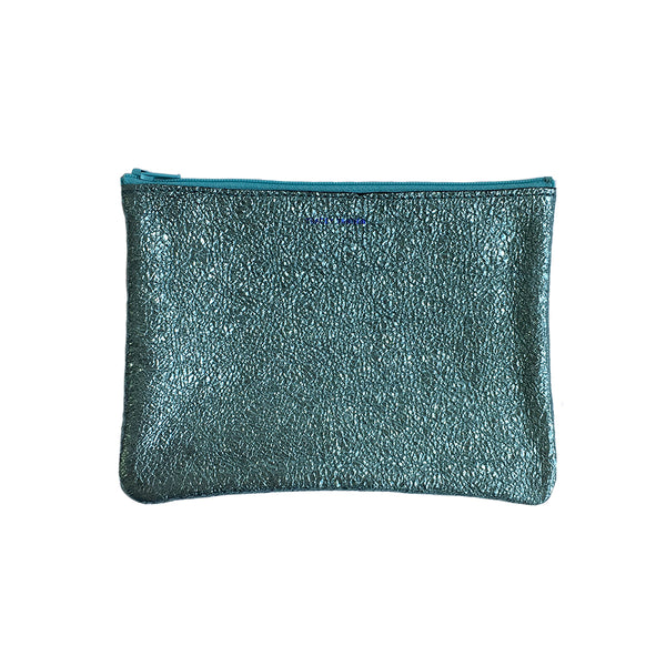 8fd7226c3c Medium Flat Zip Pouch - Sea Foam Crinkle – Collier West