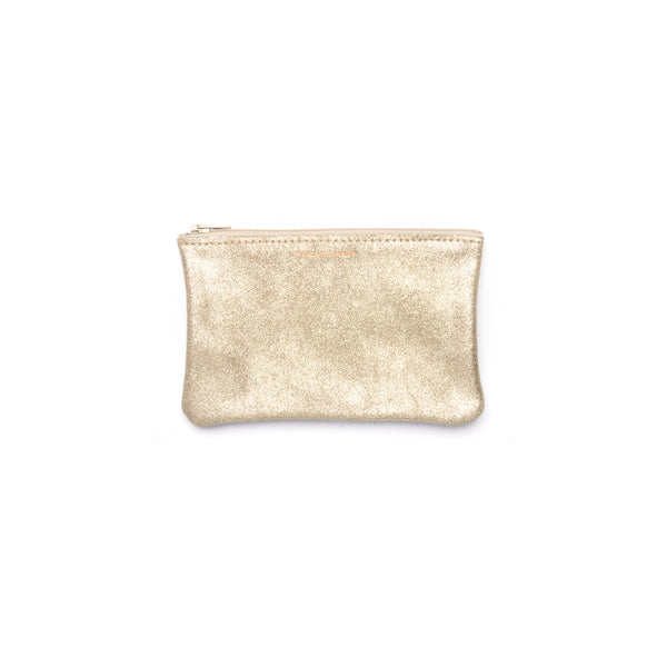 Small Flat Zip Pouch- Champagne Sparkle