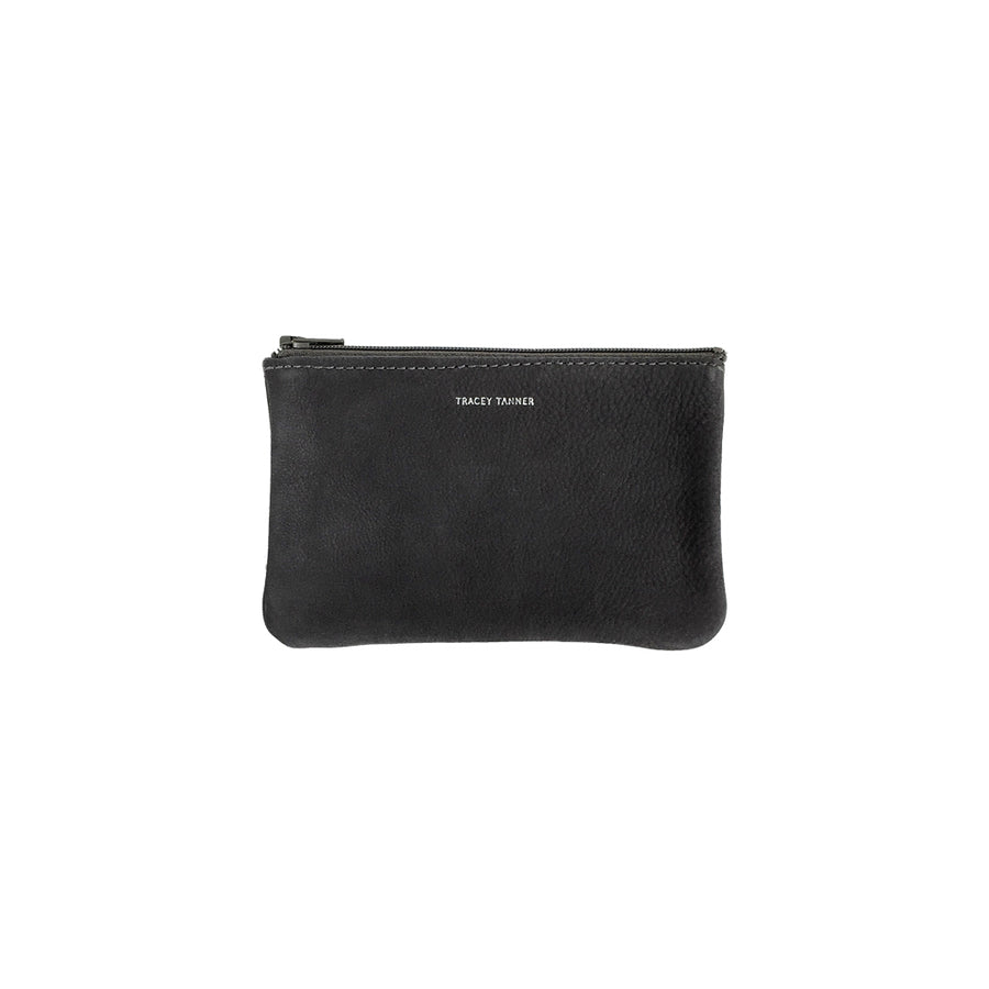 Small Flat Zip Pouch - Black Revolver