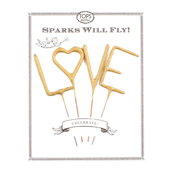 "4 Golden Sparkles Wands ""LOVE"""