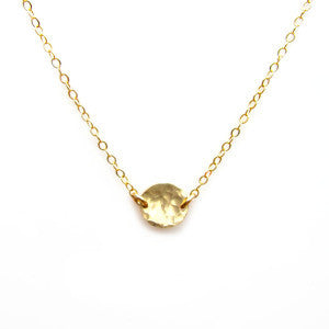 Yellow or Rose Gold Disc Necklace