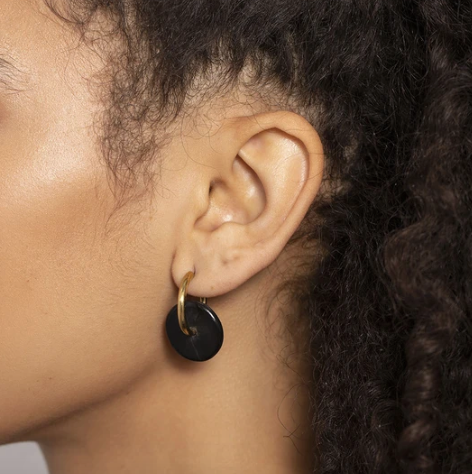 Small Horn Disc Hoop Earrings