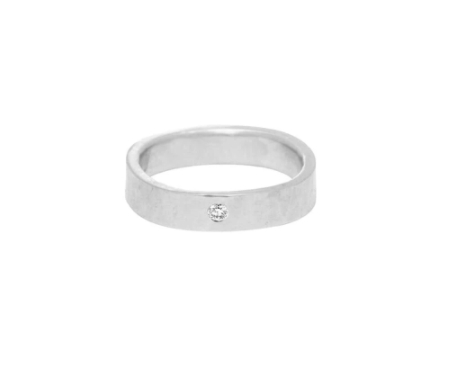 4MM WIDE SILVER ROUND RING WITH TINY DIAMOND