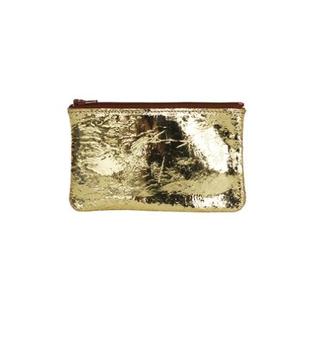 Small Flate Zip Pouch- Foil Gold