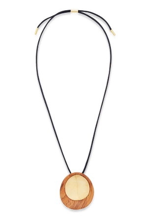 SAMIA MIXED MATERIAL PENDANT NECKLACE