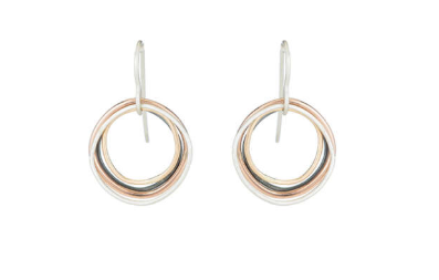 Small Four Color Multi Square Hoop Earrings