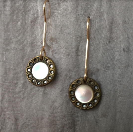 Pearl & Gold Fill Drop Earrings