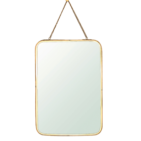 Estelle Vertical Rectangle Brass Mirror
