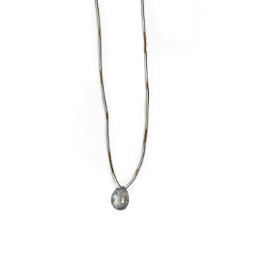 Grey Topaz Drop Necklace