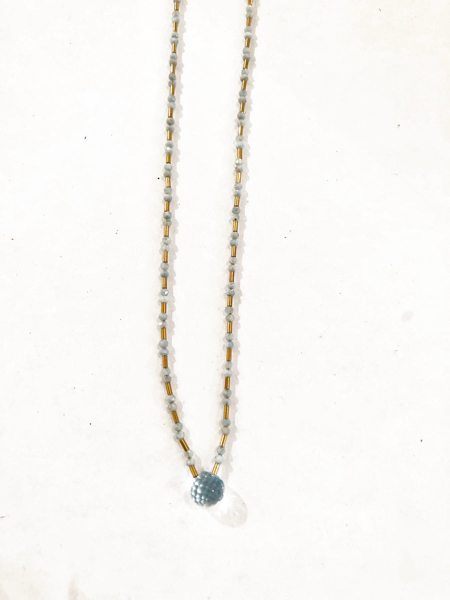 Agate with Blue Topaz Drop Necklace