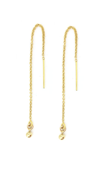 Gold Ball Threader Earrings
