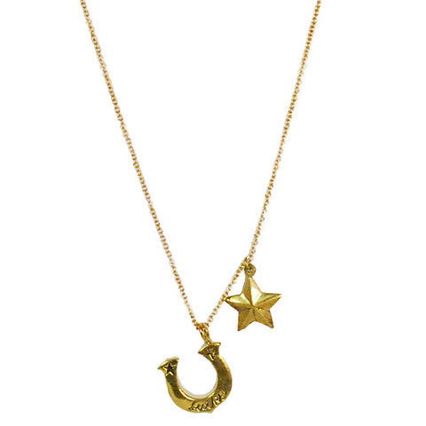 Brass Horsehoe Star Necklace