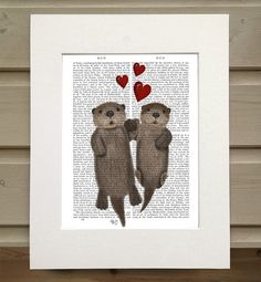 Otters Holding Hands Book Print