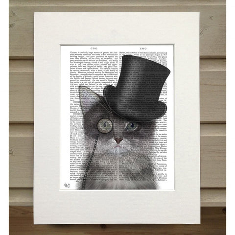 Grey Cat with Top Hat Book Print