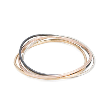 Set of Four-Hoop Interlocking Bangles