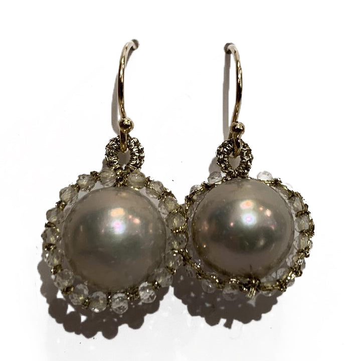 Orbit Clear Bead With Grey Pearl & Gold Cord Earrings