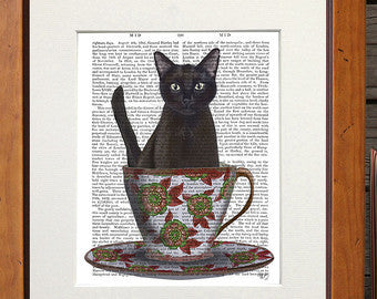 Black Cat in Teacup Book Print