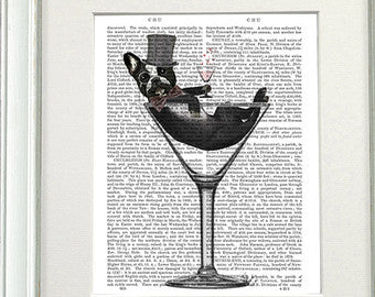 French Bulldog in Martini Glass Book Print