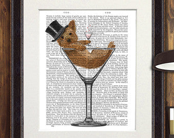 Yorkshire Terrier in Martini Glass Book Print