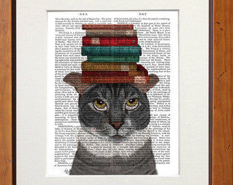 Grey Cat with Books on Head Book Print