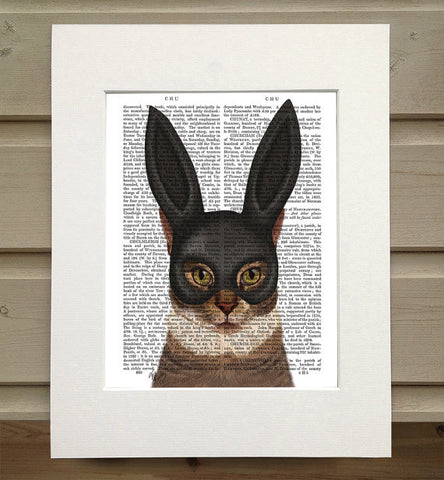 Cat with Bunny Mask Book Print