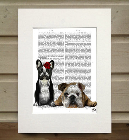 French Bulldog and English Bulldog Book Print