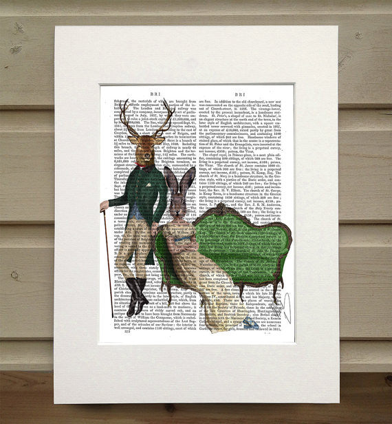 Mr. Deer and Mrs. Rabbit Book Print