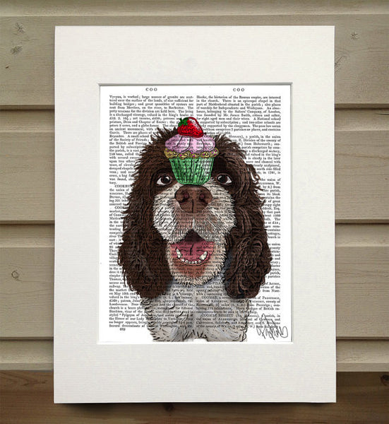 Springer Spaniel with Cupcake Book Print