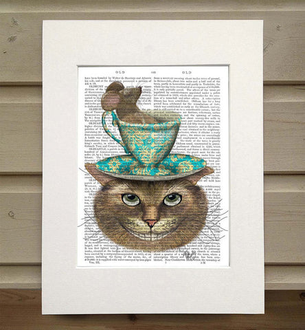 Cheshire Cat with Cup on Head Book Print