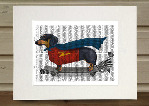 Dachshund on Skateboard Book Print