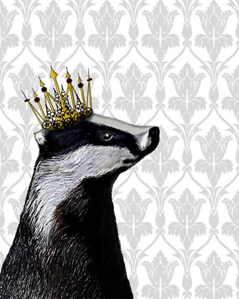 Badger King Book Print