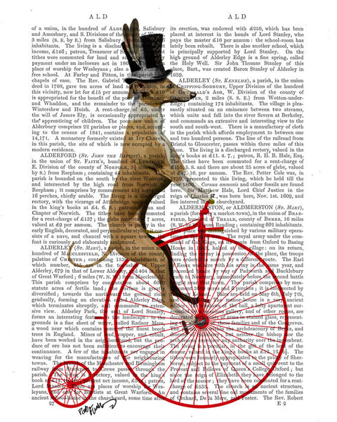 Greyhound on Red Penny Farthing Book Print