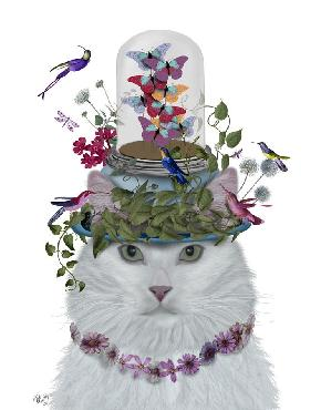White Cat with Bell Jar Art Print