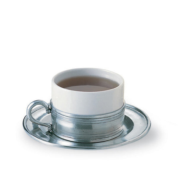 Cappuccino/Tea Cup with Pewter Saucer
