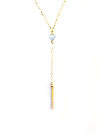 Moonstone Lariat Bar Necklace