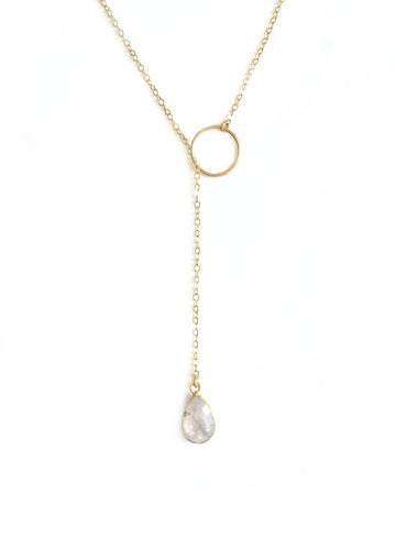 Moonstone Adjustable Gemstone Lariat