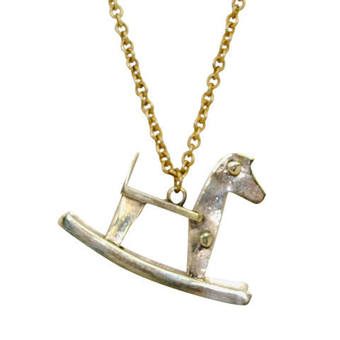 Brass Rocking Horse Necklace