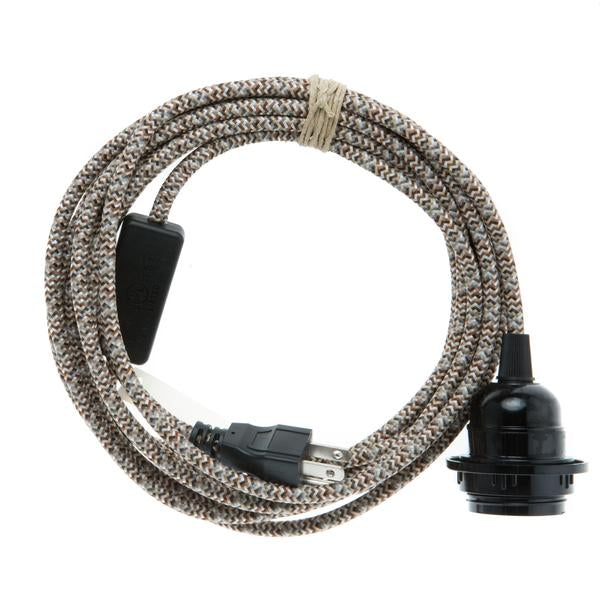 Color Cord Plug in- Neutral tweed