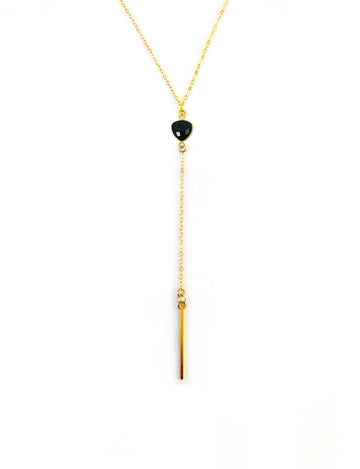 Onyx Lariat Bar Necklace
