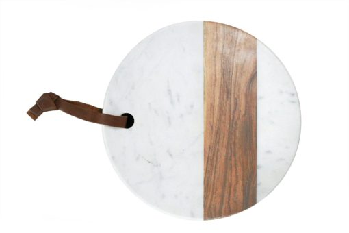 White Marble & Wood Board - Round