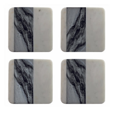 White & Gray Marble Coasters - Square