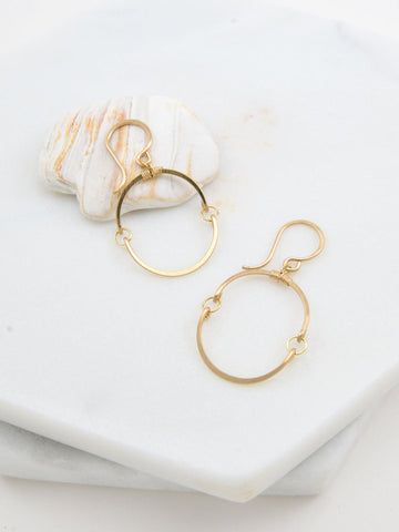 Gold Circle Earrings - Small