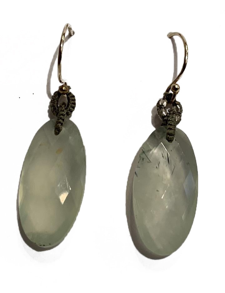 Woven Olive Silk Cord With Vermeil Beads &  Prehnite Oval Drop Earrings