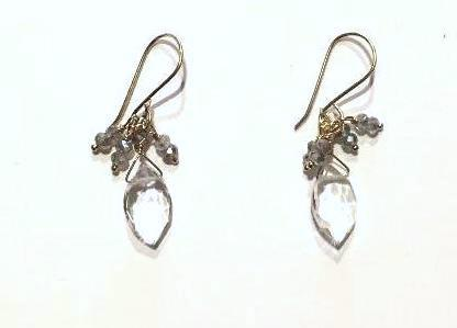 Labradorite & Clear Quartz Bead on Gold Fill Wire Earring