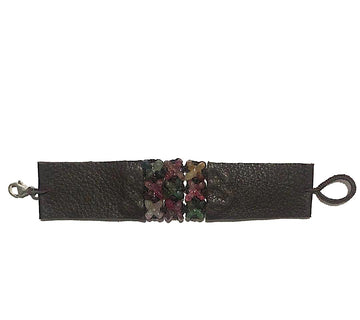 Woven Grey Silk Cord With Multi Tourmaline & Leather Ends