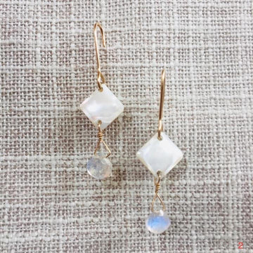 Square Buttons With Rainbow Moonstone Teardrops